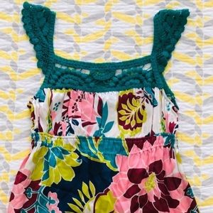 NWT HALE BOB crochet style floral top pink green